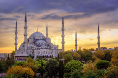 Blue Mosque Sultanahmet, Istanbul, Turkey, on sunset Stock Photo