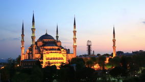 The Blue Mosque at Sultanahmet Square, Istanbul. Scenic view at The Blue Mosque with night illumination in Istanbul, Turkey stock video footage