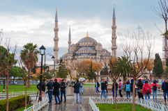 Blue Mosque, Sultanahmet Square in winter in rainy Stock Image