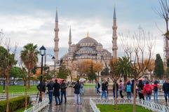 Blue Mosque, Sultanahmet Square in winter in rainy Stock Image