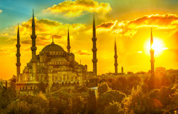 Blue Mosque at sunset Stock Image