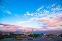 Blue Mosque at sunset in Istanbul, Turkey, Royalty Free Stock Photos