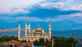 Blue Mosque at sunset in Istanbul, Turkey, Royalty Free Stock Photo