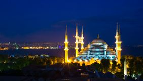 Blue Mosque at sunset in Istanbul, Turkey, Royalty Free Stock Images