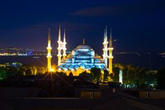 Blue Mosque at sunset in Istanbul, Turkey, Stock Photography