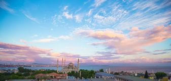 Blue Mosque at sunset in Istanbul, Turkey, Royalty Free Stock Image