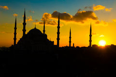 Blue Mosque at sunset stock images