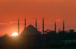 Blue Mosque during Sunset Royalty Free Stock Photos