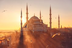 The Blue Mosque at sunset, Sultanahmet Camii royalty free stock photography