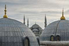 Blue Mosque with tile domes and minarets Royalty Free Stock Photography