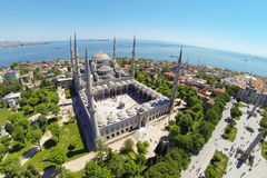 Blue Mosque. Tourists visit Blue Mosque in Istanbul. It was built from 1609 to 1616, during the rule of Sultan Ahmed I Stock Photo