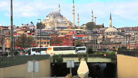 Blue mosque and the traffic stock video