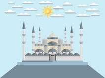 The Blue Mosque. Turkey. Istanbul. Wonders of the world. The Blue Mosque in Turkey. Istanbul. Sun and clouds over the mosque. Vector illustration Royalty Free Stock Photo