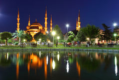 Blue Mosque With Reflection - Istanbul Stock Image