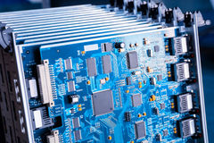 Blue motherboard closeup Royalty Free Stock Image