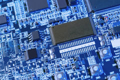 Blue motherboard Royalty Free Stock Image