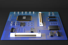 Blue motherboard front Stock Image
