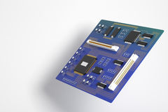 Blue motherboard side Royalty Free Stock Photography