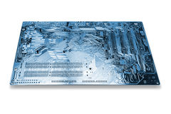 Blue motherboard on white Stock Images