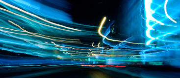 Blue motion car lights Stock Photography