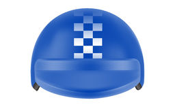 Blue motocross racer helmet. Helmet for delivery man Royalty Free Stock Photography