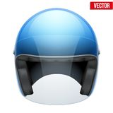 Blue motorbike classic helmet with clear glass Royalty Free Stock Photo