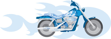 Blue motorcycle. Vector image of blue motorcycle and blue flame Royalty Free Stock Photos