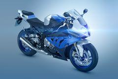Blue Motorcycle. On blue background Stock Photos