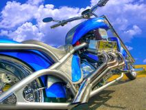 Blue motorcycle Royalty Free Stock Images