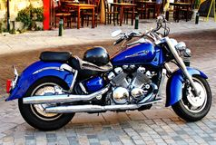 Blue motorcycle made in order for exhibition royalty free stock image