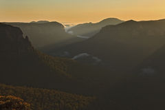Blue Mount Govett Leap Rays Valley royalty free stock image