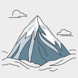 Blue mountain with clouds. Snowy peak. Mountain with clouds. Blue mountain with snowy peak. Color outlined illustration. Vector Royalty Free Stock Photos