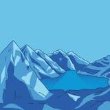 Blue mountain Glacial lake landscape. Vector modern illustration. Blue mountain landscape. Glacial lake. North landscape. Vector modern illustration Royalty Free Stock Photo