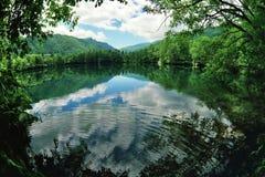 Blue mountain lake. A view across a beautiful clear, calm blue lake in Balkaria, Caucasus, Russia Stock Image