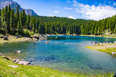 Blue mountain lake panorama Royalty Free Stock Photos