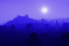 Blue Mountain Mist. Foothill ranges in muted blue mist against setting sun Royalty Free Stock Photos