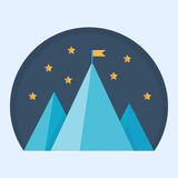 Blue mountain peak with flag. Vector illustration of a goal achievement, success or victory Royalty Free Stock Images