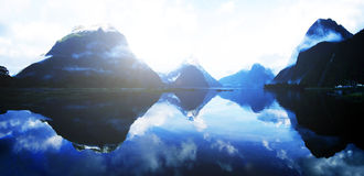 Blue Mountain Rural Tranquil Remote Lake Reflection Concept Royalty Free Stock Images