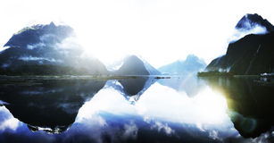 Blue Mountain Rural Tranquil Remote Lake Reflection Concept Stock Images