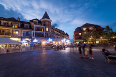 Blue mountain village at night Royalty Free Stock Photos