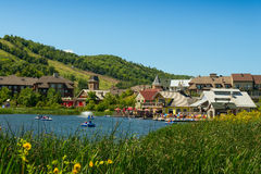 Blue Mountain Village with restaurants and a pond Royalty Free Stock Photo