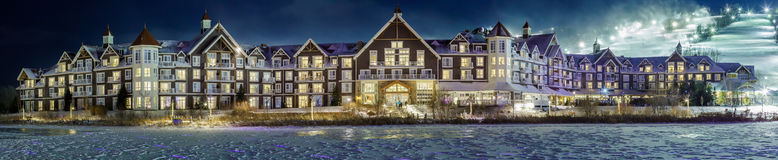 Blue Mountain Village in winter. Panorama of Blue Mountain Village in winter Stock Photo