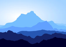 Blue mountains. View of huge blue mountains. Additional vector format in EPS (v.8 Royalty Free Stock Photos