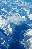 Blue mountains. The Swiss Alps as seen from an airplane Stock Photography