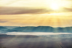 Blue mountains covered with mist Royalty Free Stock Photography