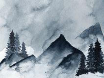 Blue Mountains in fog hand drawn with ink in minimalist style royalty free illustration