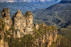 Three Sisters rock formation in the Jamison Valley Blue Mountains of New South Wales, Australia Royalty Free Stock Image