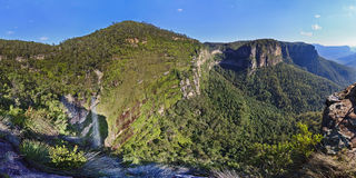 Blue Mountains Grand Canyon Day Waterfall Panorama. Australia NSW BLue Mountains Grand Canyon panorama with waterfall and distant rocks at BLackheath day summer Stock Photography