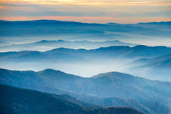 Blue mountains and hills Stock Photos