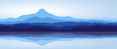Blue mountains with lake - panorama Royalty Free Stock Images
